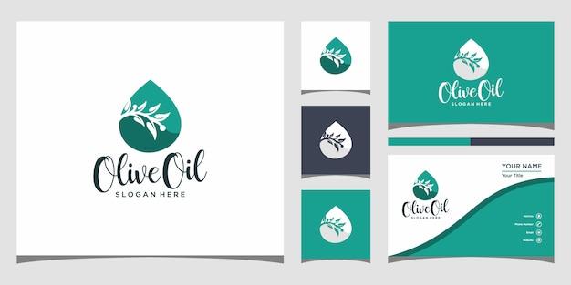 Plantilla de logotipo de aceite de oliva y tarjeta de visita