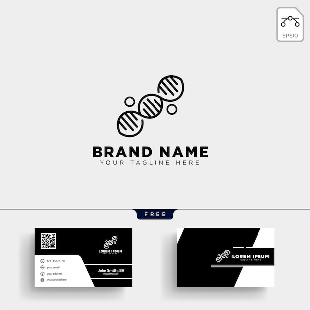 Plantilla de logotipo de adn molecular y diseño de tarjeta de visita