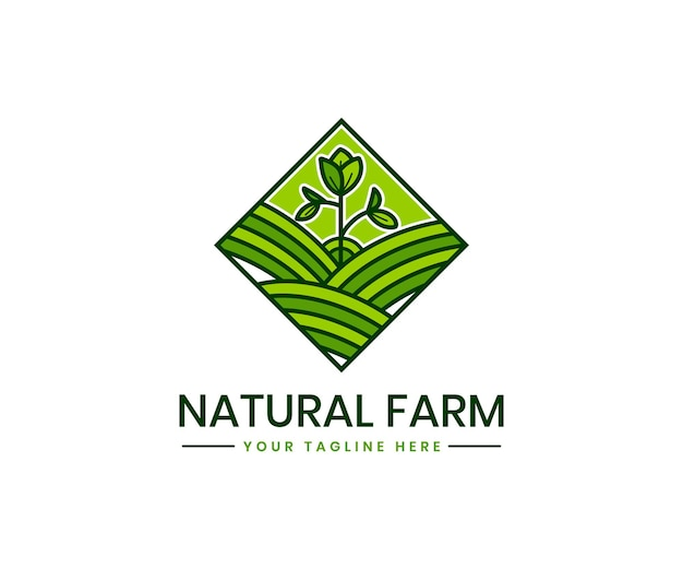 Plantilla de logotipo de agricultura orgánica con marca de producto orgánico de planta de paisaje de campo de agricultura verde