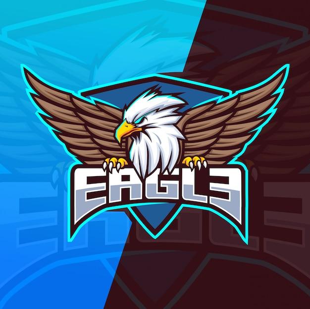Plantilla de logotipo de águila mascota esport