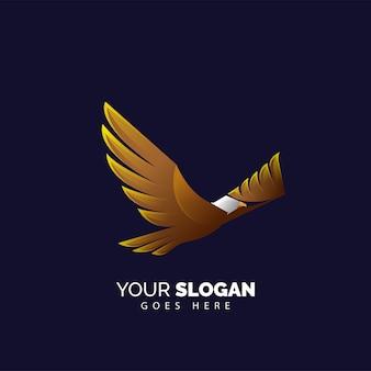 Plantilla de logotipo de águila voladora degradada