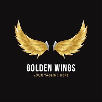 Plantilla de logotipo de alas doradas