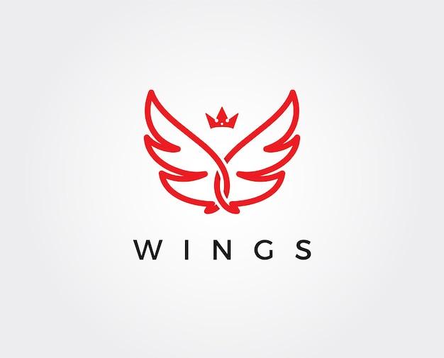 Plantilla de logotipo de alas mínimas