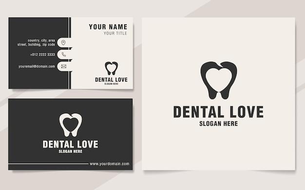 Plantilla de logotipo de amor dental en estilo monograma