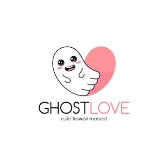 Plantilla de logotipo de amor fantasma