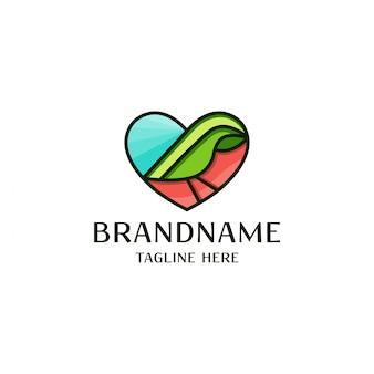 Plantilla de logotipo de amor y pájaro