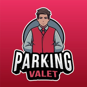 Plantilla de logotipo de aparcacoches aislado en rojo