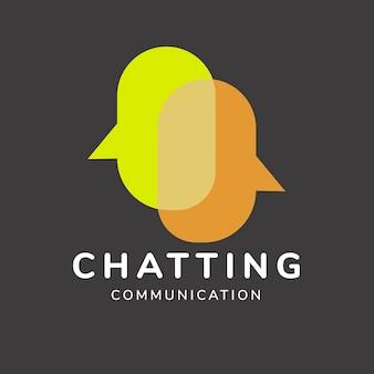 Plantilla de logotipo de aplicación de chat, vector de diseño de marca empresarial, texto de comunicación de chat