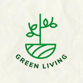 Plantilla de logotipo de árbol de línea para branding con texto