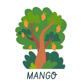 Plantilla de logotipo de árbol de mango de diseño plano
