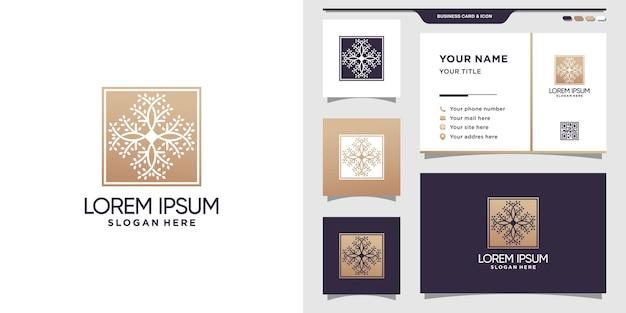 Plantilla de logotipo de árbol de naturaleza con concepto cuadrado y diseño de tarjeta de visita