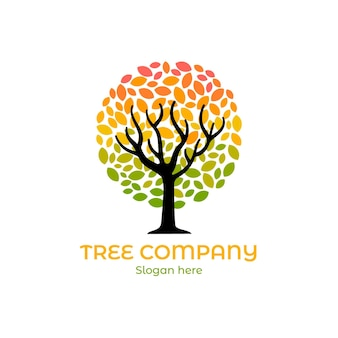 Plantilla de logotipo de árbol de naturaleza de empresa degradado de color