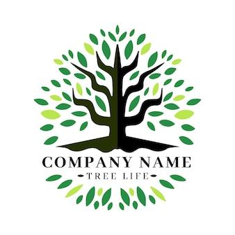 Plantilla de logotipo de árbol de naturaleza de empresa