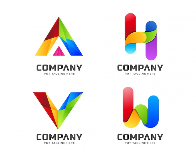 Plantilla de logotipo de arco iris colorido negocio degradado con forma abstracta