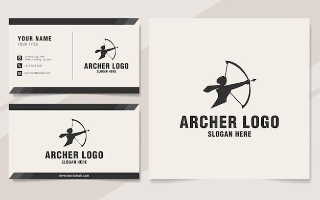 Plantilla de logotipo de arquero en estilo monograma