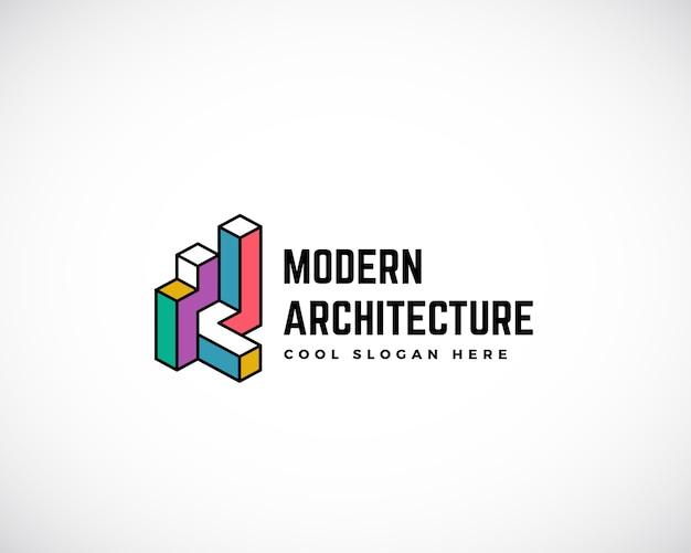 Plantilla de logotipo de arquitectura moderna. signo de construcción símbolo del concepto de construcción. aislado con tipografía premium
