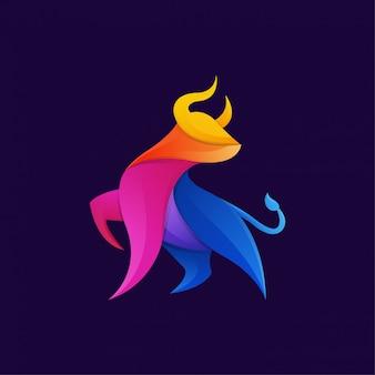 Plantilla de logotipo de arte colorido degradado toro