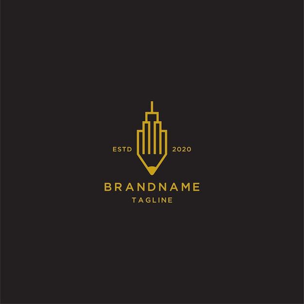 Plantilla de logotipo de arte de línea de edificio de lápiz