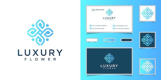 Plantilla de logotipo de arte de línea de flores de lujo y tarjeta de visita