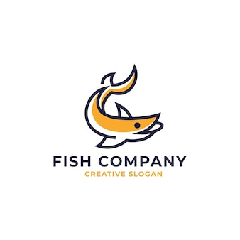 Plantilla de logotipo de arte de línea simple de pez amarillo moderno