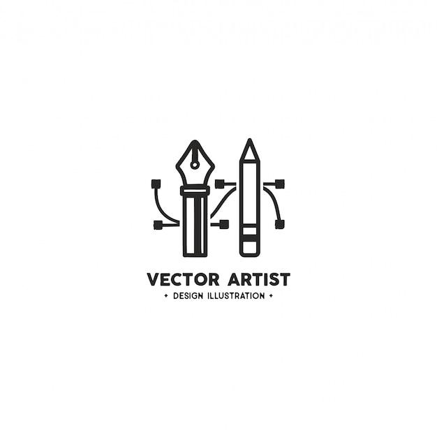 Plantilla de logotipo de artista de vector. lápiz y herramienta de pluma
