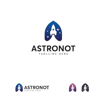 Plantilla de logotipo de astronauta