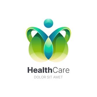 Plantilla de logotipo de atención médica de personas abstractas