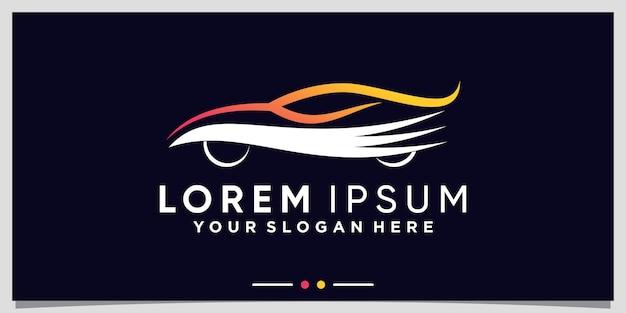 Plantilla de logotipo de auto deportivo abstracto con estilo de arte lineal vector premium