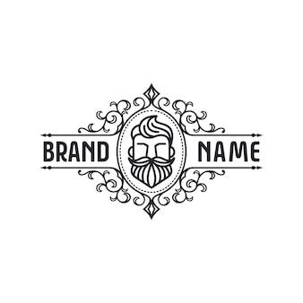 Plantilla de logotipo de barba