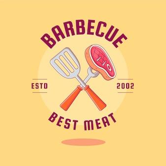 Plantilla de logotipo de barbacoa detallada