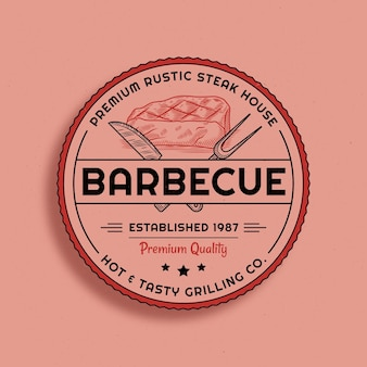 Plantilla de logotipo de barbacoa con detalles