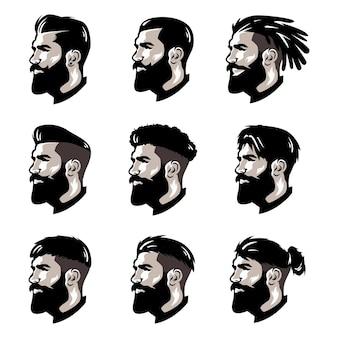 Plantilla de logotipo de barbero de barba