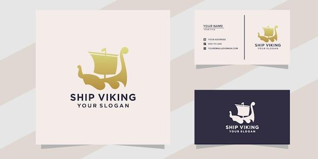 Plantilla de logotipo de barco vikingo