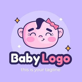 Plantilla de logotipo de bebé sonriente