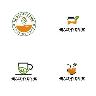 Plantilla de logotipo de bebida saludable fresca y colorida