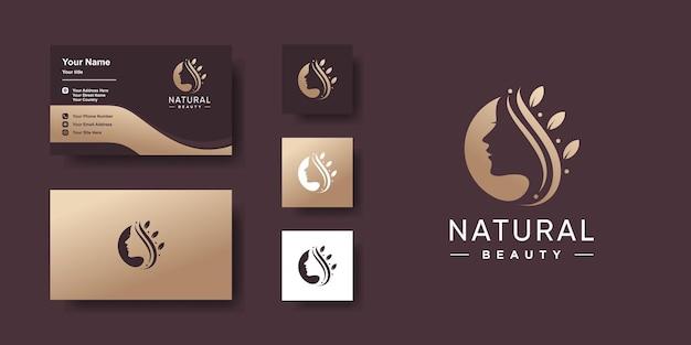 Plantilla de logotipo de belleza natural y diseño de tarjeta de visita.