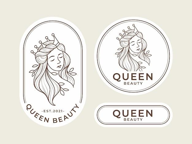 Plantilla de logotipo de belleza reina vintage