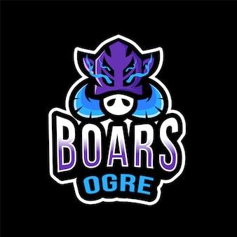Plantilla de logotipo de boars ogre esport