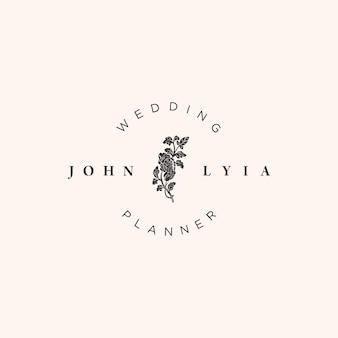 Plantilla de logotipo de boda minimalista