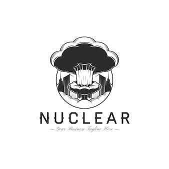 Plantilla de logotipo de bomba nuclear