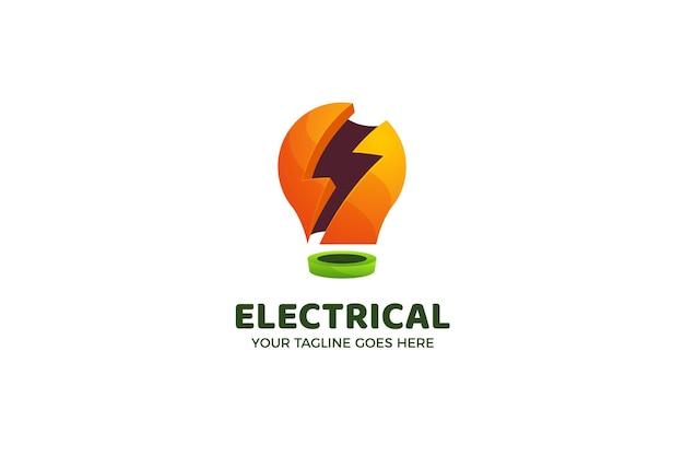 Plantilla de logotipo de bombilla de luz eléctrica