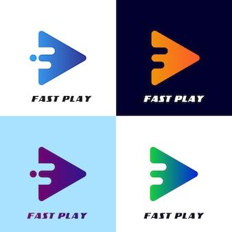 Plantilla de logotipo de botón de reproducción rápida, para diseño de aplicaciones o etc.