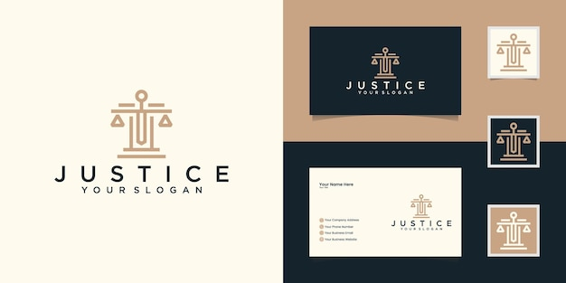 Plantilla de logotipo de bufete de abogados y tarjeta de visita