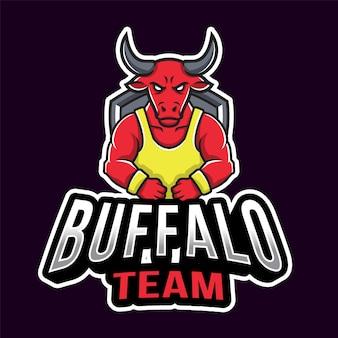Plantilla de logotipo de buffalo team sport