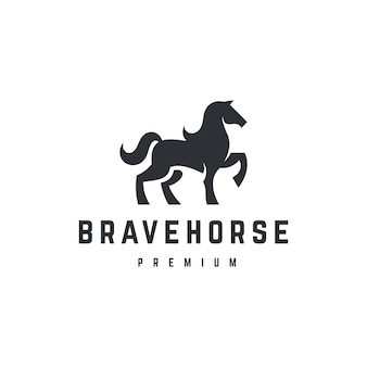 Plantilla de logotipo de caballo valiente