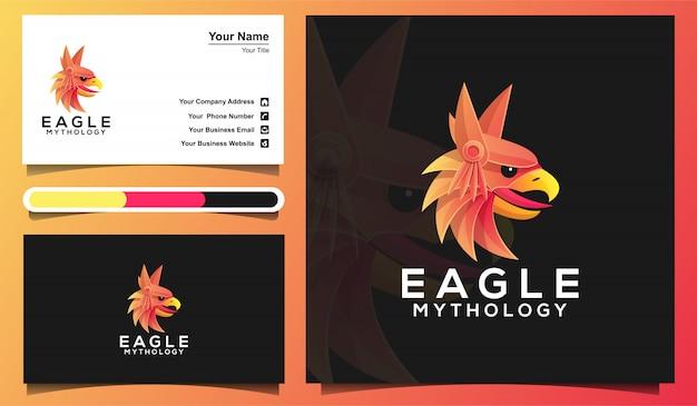 Plantilla de logotipo de cabeza de águila colorida y plantilla de tarjeta de visita