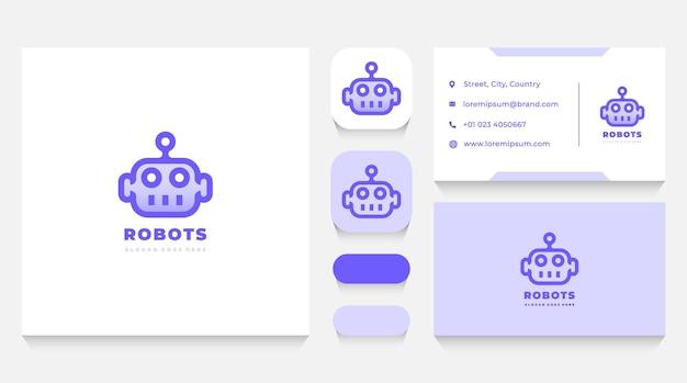 Plantilla de logotipo de cabeza de robot y tarjeta de visita