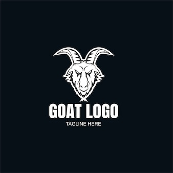 Plantilla de logotipo de cabra en blanco y negro