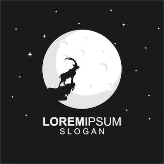 Plantilla de logotipo con cabra y luna en la noche