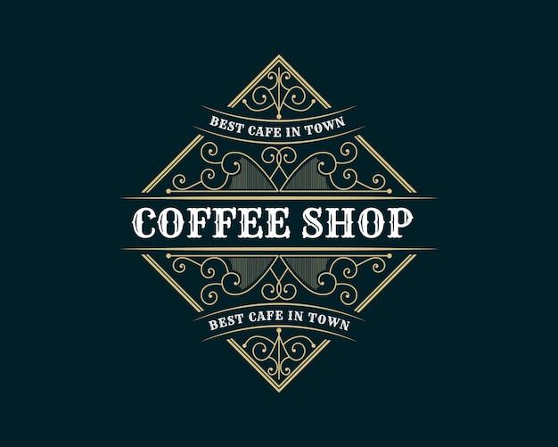 Plantilla de logotipo de cafetería vintage de lujo emblema de café retro marco heráldico y cresta